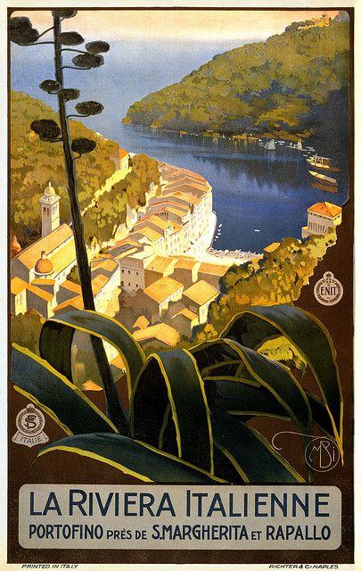 """""""La Riviera italienne, Portofino près de S.Margherita et Rapallo"""". Travel poster by Mario Borgoni for ENIT (Ente Nazionale Italiano per il Turismo); Richter & Cia., Napoli, ca. 1920."""