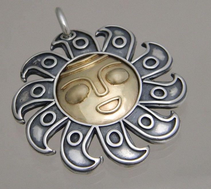 James Avery Sterling Silver Gold 925 585 La Cara Del Sol Sun Pendant Retired Jamesavery