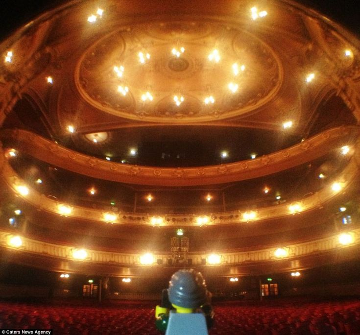 Centre stage: Andrew Whyte uses a fish-eye lens to capture the whole of the Kings Theatre in Southsea, along with his Lego companion.