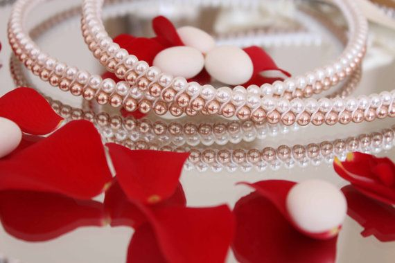 Stefana White and Rose Gold Pearl crowns by StoryofStefania, $185.00