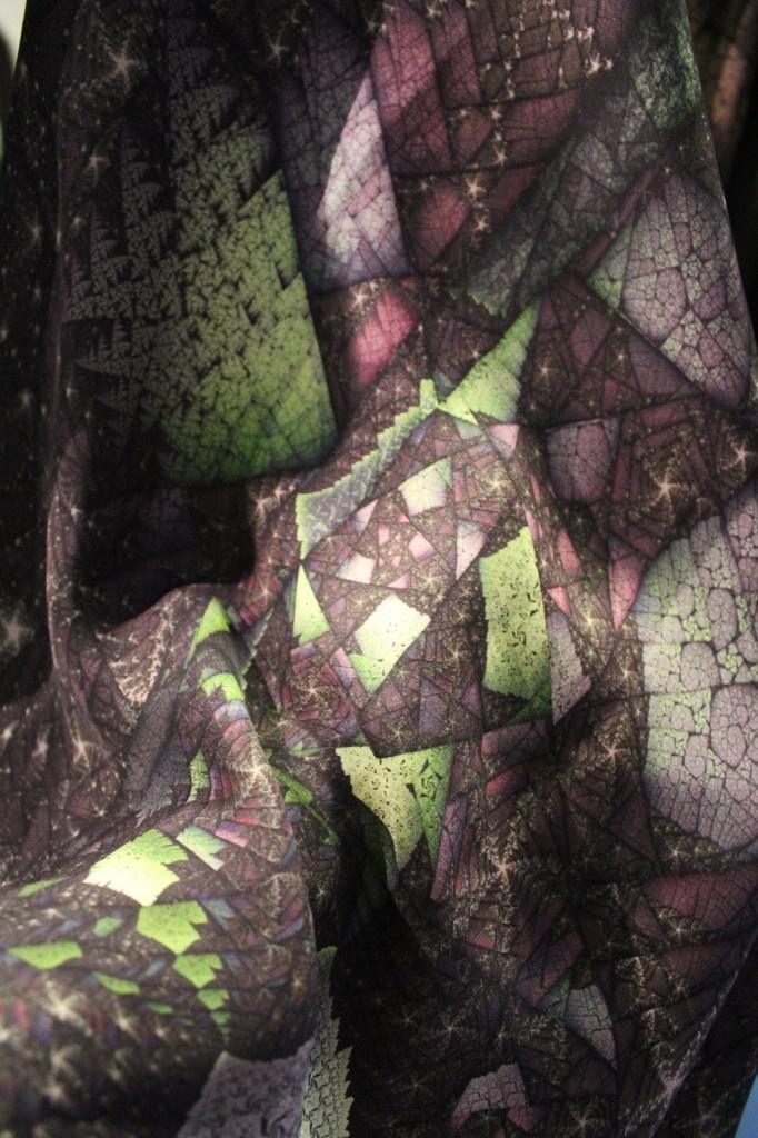 Tettmann.Doust INFINITUM Collection: Green/Purple fractal print on crepe de chine silk. In stores April 2013.