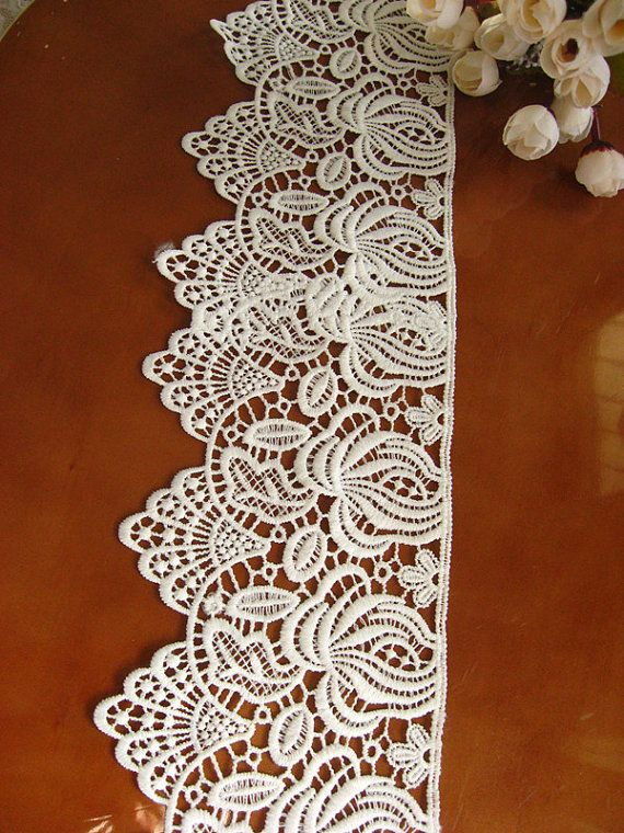 white Lace Trim scalloped trim lace antique lace fabric by LaceFun, $3.99