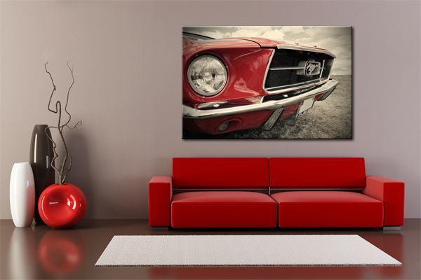 Tableau Voiture - Ford Mustang Rouge, 1965
