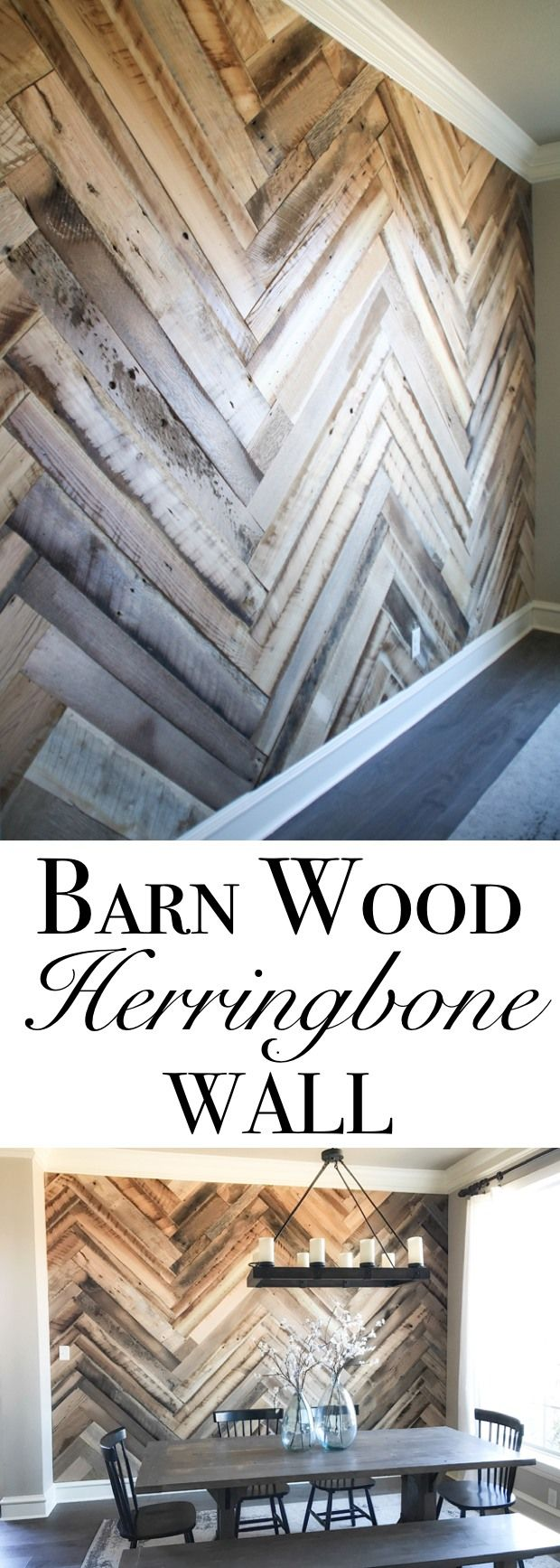 Barn Wood Herringbone Wall
