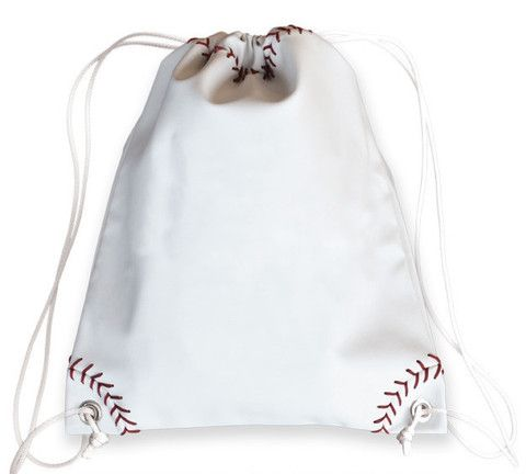 Baseball Drawstring Bag - Authentic baseball material with real red st – The Varsity Source