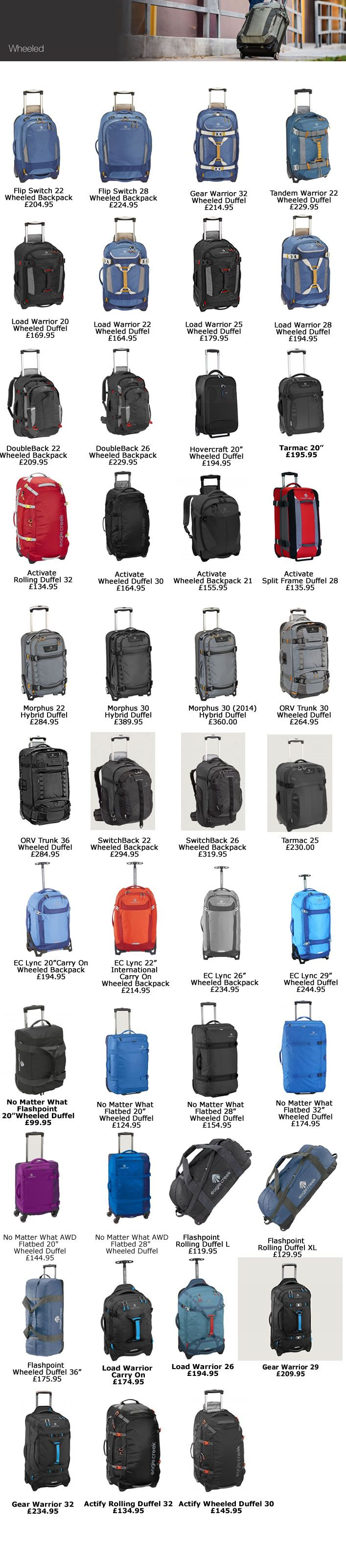 Eagle Creek Wheeled Luggage and Travel Gear : Eagle Creek UK : Eagle Creek Luggage : Eagle Creek Travel Gear ; Eagle Creek : Eagle Creek Pack It : Tarmac : Load Warrior : No Matter What : Double Back : Activate : Outdoor Gear