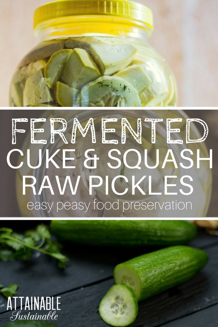 Making pickles might sound difficult, but it's not. These fermented squash raw pickles feature garden fresh ingredients and can be made in a snap.
