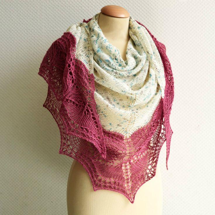 Breipatroon Pink Monarda shawl - La Visch Designs - Wol zo Eerlijk