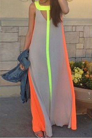 Fashionable Scoop Neck Color Block Hollow Out Sleeveless Maxi Dress For WomenMaxi Dresses | RoseGal.com