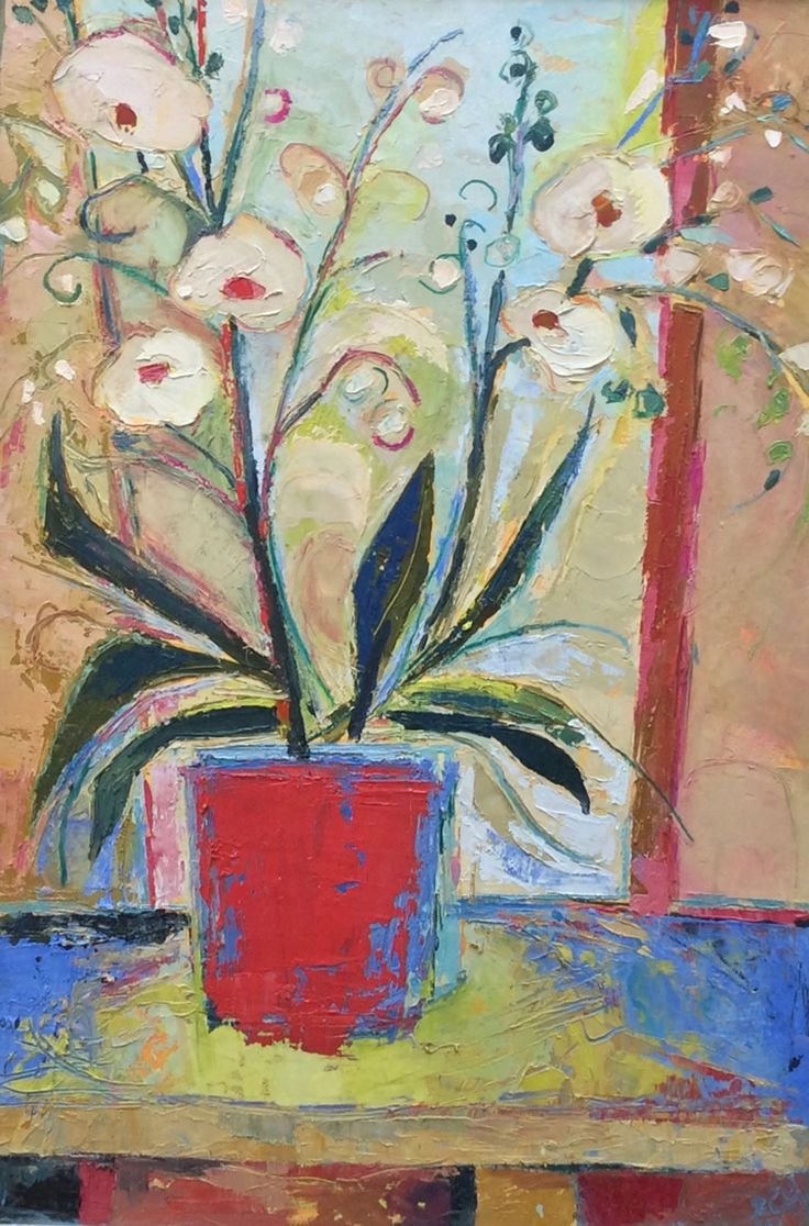 Orchid in the Window Oil on Board 76 x 51 cm  #Art #Paintings #StillLife