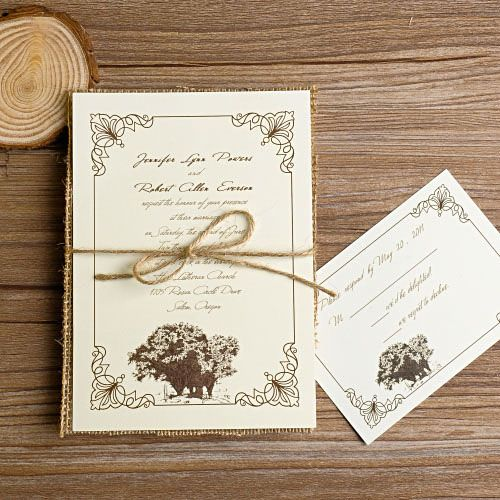 rustic tree burlap layered wedding invitations EWLS014 as low as $2.19 |