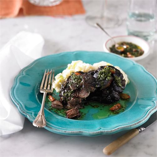 Braised lamb neck chops with potato-leek mash and gremolata recipe | BeefandLamb.com.au