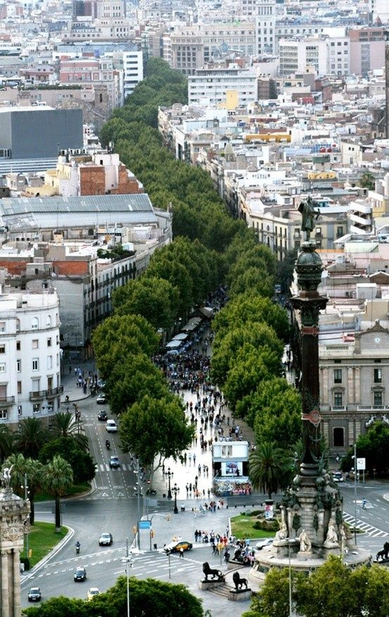 Not a garden, but this stand of trees through Barcelona is just stunning. • Las Ramblas in Barcelona, Spain 鈥?photo: Guifr茅 Miquel-it's interesting place ever with entertainers and artists