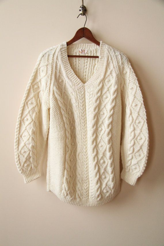 Ivory Wool Fishermans Sweater Cable Knit Sweater by nbdg on Etsy