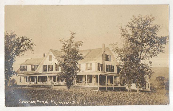 RPPC Spooner Farm, FRANCONIA NH Vintage 1921 New Hampshire Real Photo Postcard