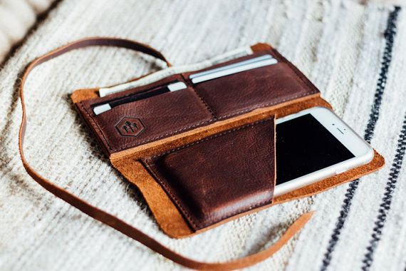 the hustler wrap wallet with phone sleeve // hand-sewn brown buffed, oiled kodiak // card + phone pocket with a leather wrap-around strap //