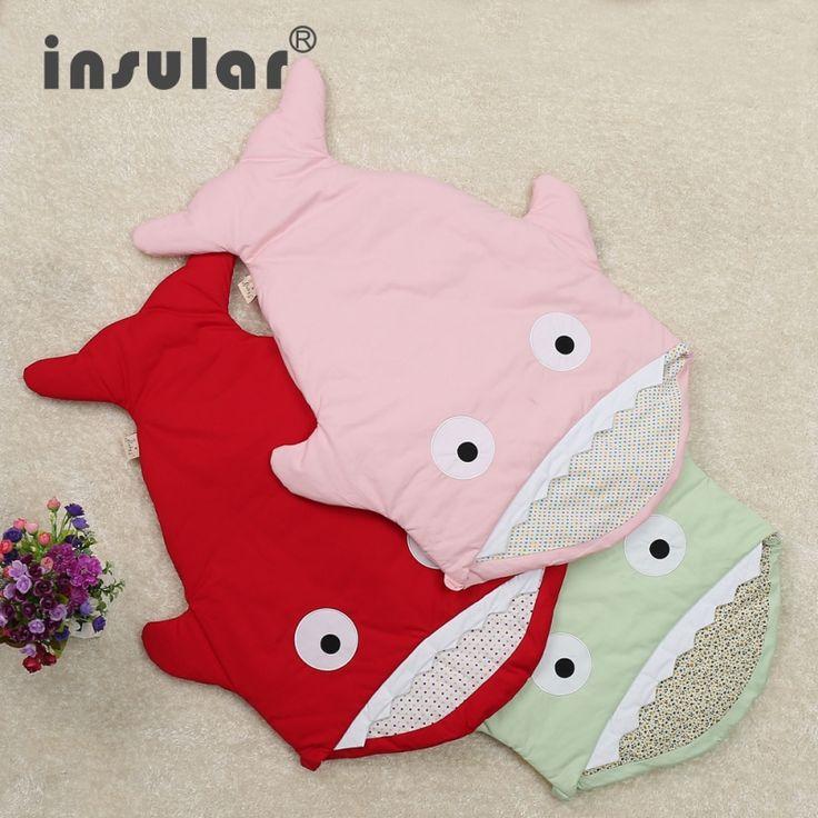 34.26$  Buy here - http://alilfi.shopchina.info/go.php?t=32537201830 - 2016 new cartoon shark sleeping bags for baby newborn winter baby stroller blanket Swaddle Bedding Warm Cute Baby Sleepsacks C46  #buymethat