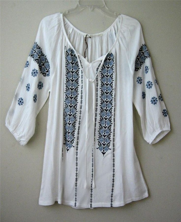 New White Vintage Blue Embroidered Peasant Blouse Boho Tunic Top Shirt ~12/14/L #Solitaire #Blouse