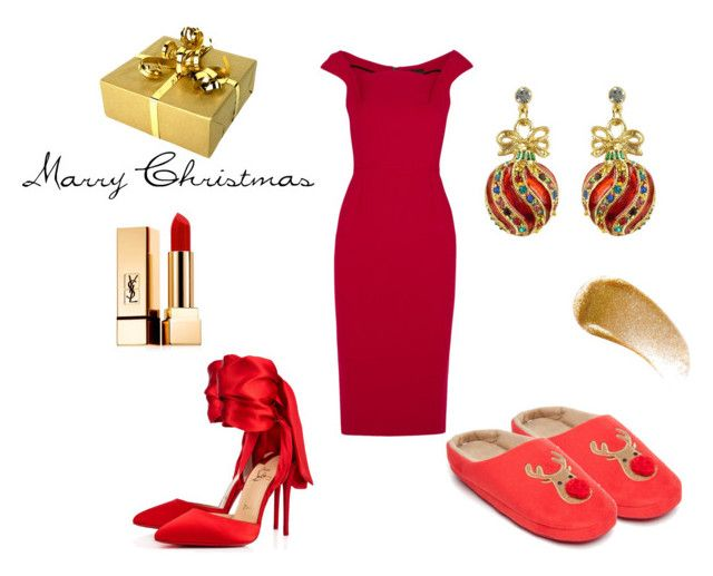 Marry Xmas by polpetta-teri on Polyvore featuring Roland Mouret, Christian Louboutin, New Directions, Yves Saint Laurent and BBrowBar
