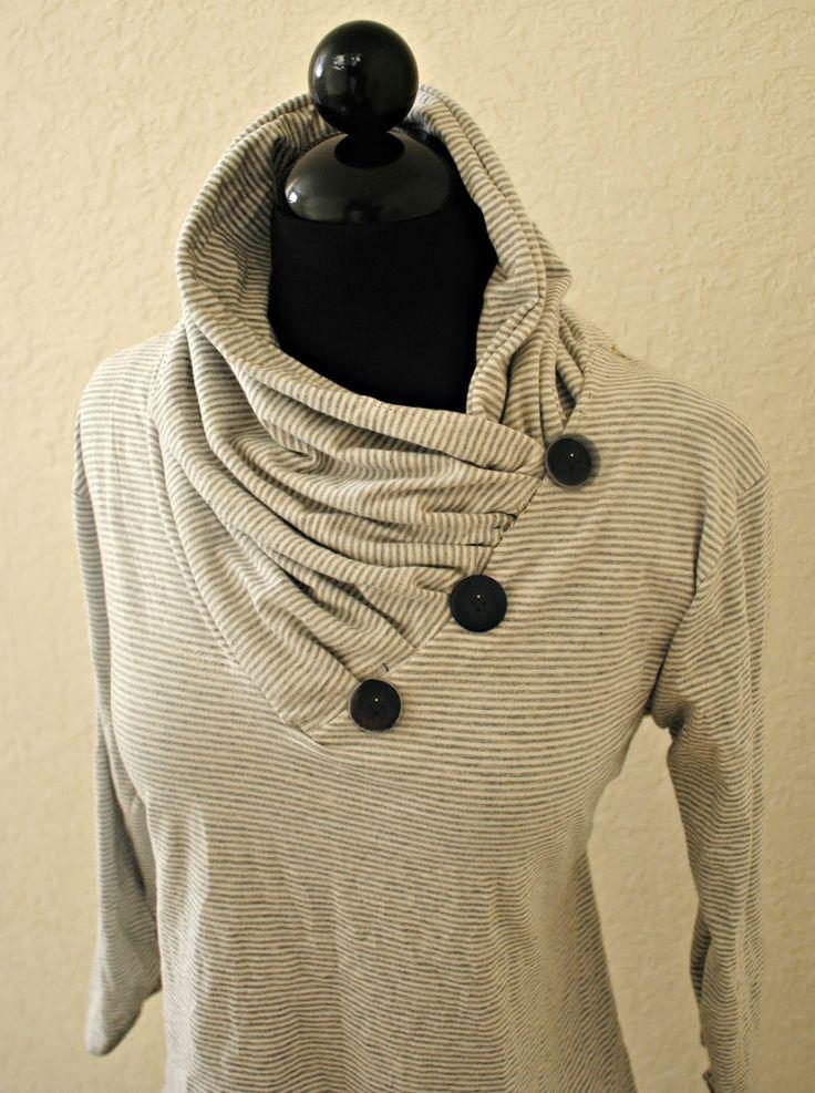 DIY: V-neck into Gathered Cowl Collar