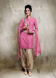 Heavy Embroidered Georgette Fabric Pink Color Latest Pakistani Suit From The Exclusive Nakkashi Collection