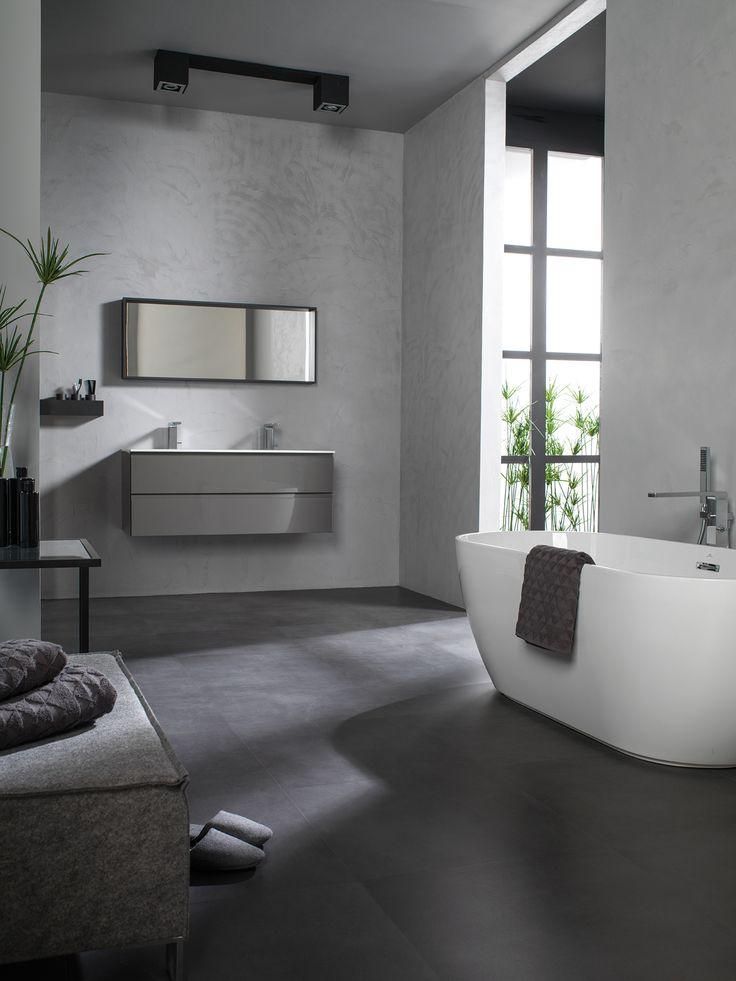 #Inspiración; Gris cemento para #Baños contemporáneos y elegantes. Un conjunto ideal que destaca por la sobriedad y pureza de líneas; el #porcelánico ON URBATEK en combinación con el revestimiento micro-stuck de Butech building technology, el mobiliario de #GAMADECOR y el equipamiento de #baño #Noken. Sofisticación de la mano de #PORCELANOSA Grupo. #GetTheLook #Interiorismo #Bathroom #Microcemento #Concrete #Grey #Tiles #Interior #black #Menstyle #Decor
