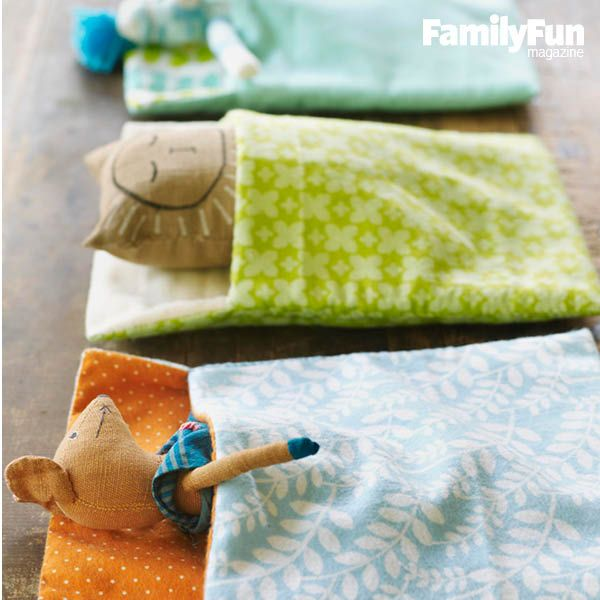 Sew a Sleeping Bag for Stuffed Animals: Stitch up the perfect haven for a favorite stuffed animal. If your kids have outgrown their flannel pj's, this is a great way to upcycle them!