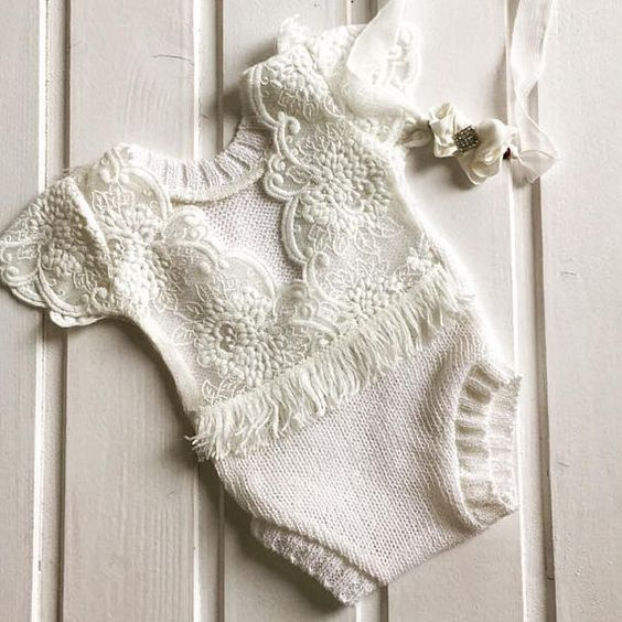 Newborn off white romper, lace open back, Baby Girl, Clothing, Headband, Accessories, Photography Prop, Clothing Sets Tie back included