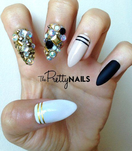 Nude x Black x Striping x Junk False Nail Set by ThePrettyNails, £15.00
