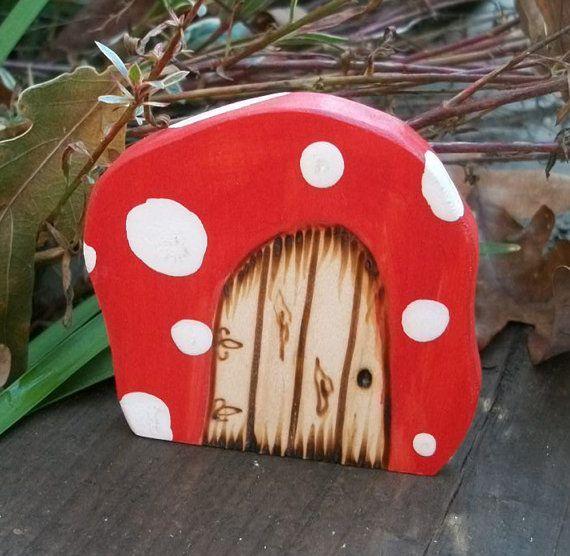 Fairy Door Fridge Magnet, Miniature Door 2 inch Red Mushroom