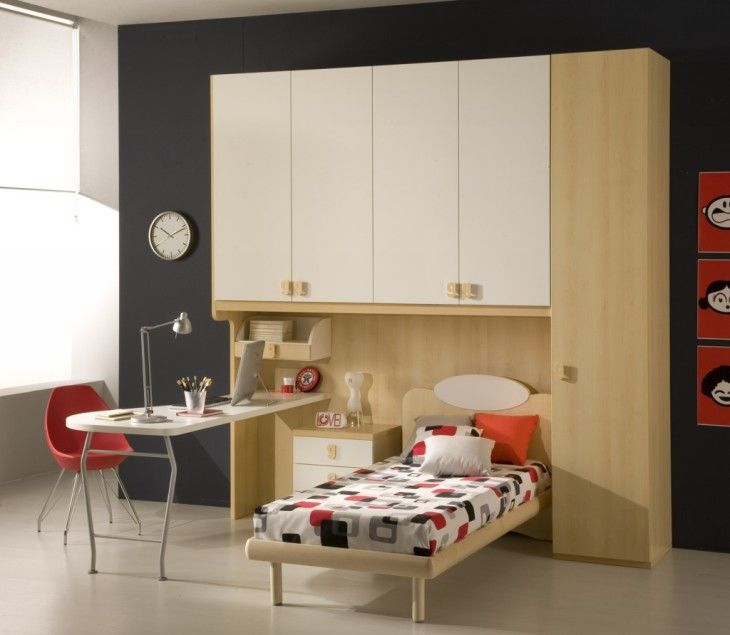 Bedroom Space Saving Kids Bedroom Inspiration With Murphy Bed And Small White Study Desk - pictures, photos, images