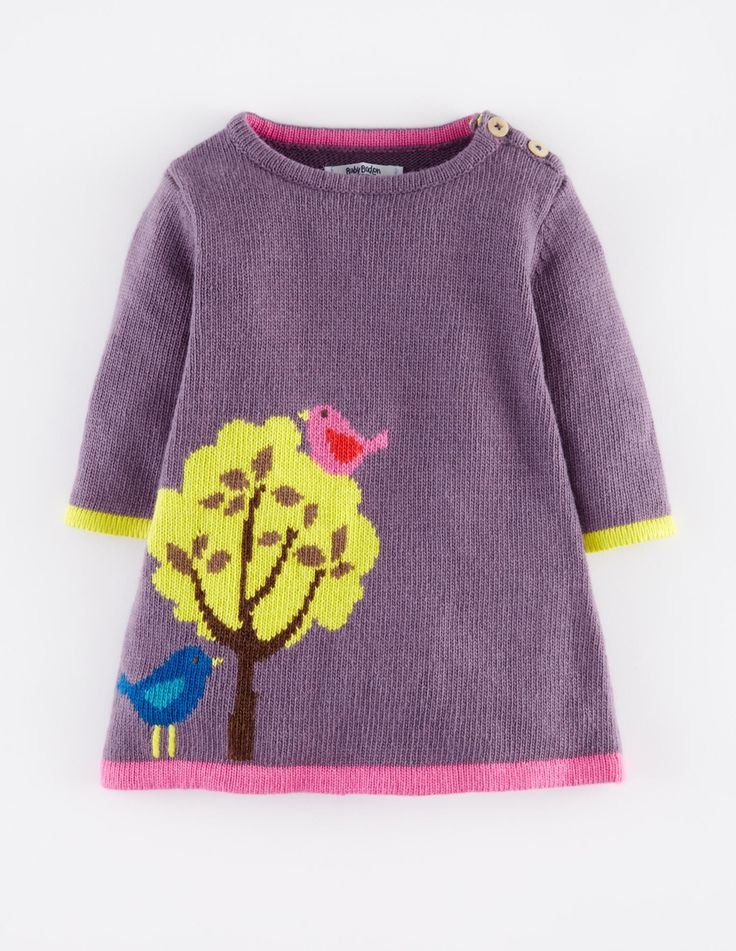 Mini Boden My Baby Knitted Dress in Thistle/Tree