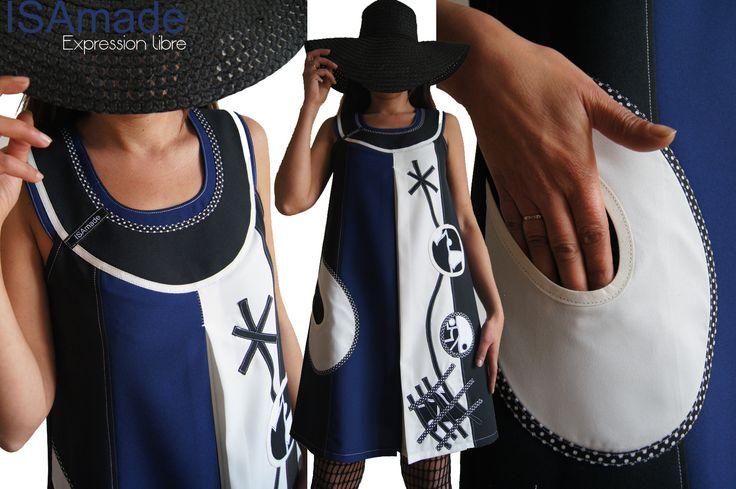 Robe trapèze Rouge/ bleu électrique/ Noire Tendance Femme 2015 Graphique et applications Stylisés Noir et blanc : Robe par isamade