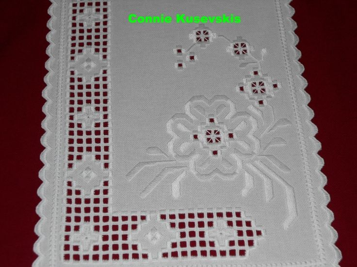 White on White Hardanger Table Runner