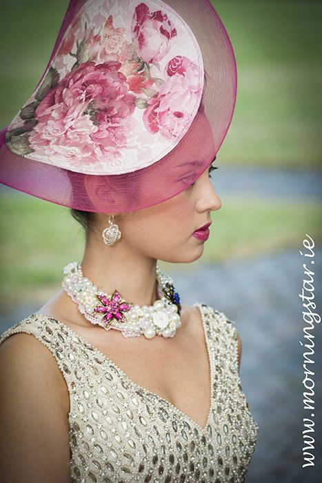 Cerise and floral headpiece with pearl and porcelain flowers