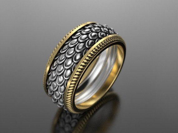 Dragon scales ring, geek wedding ring, fantasy ring, snake skin ring, d&d ring, medieval ring, norse