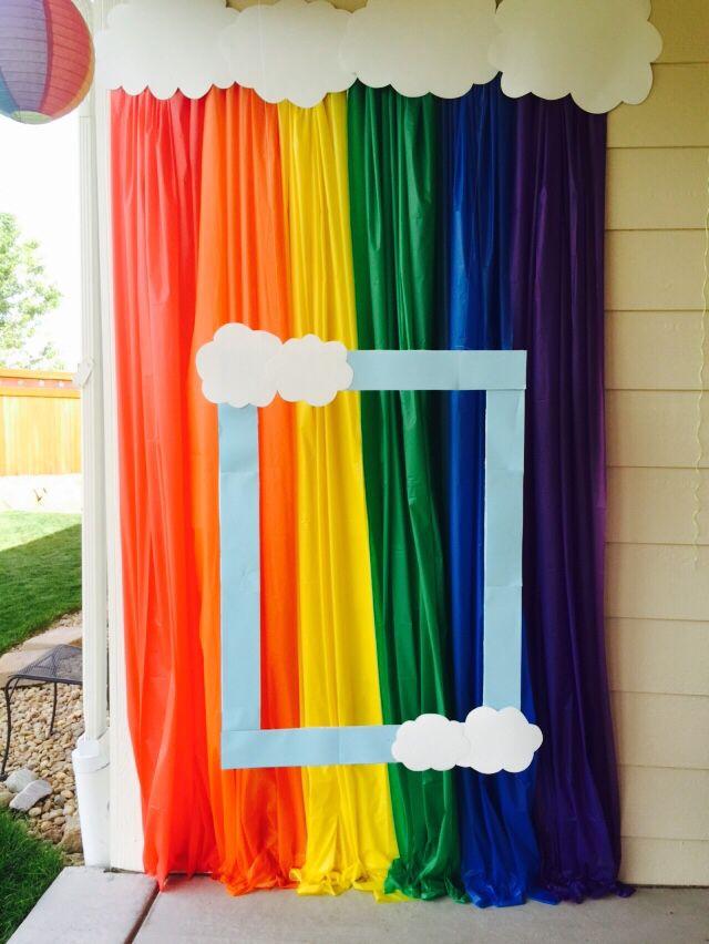 Rainbow unicorn party photo booth