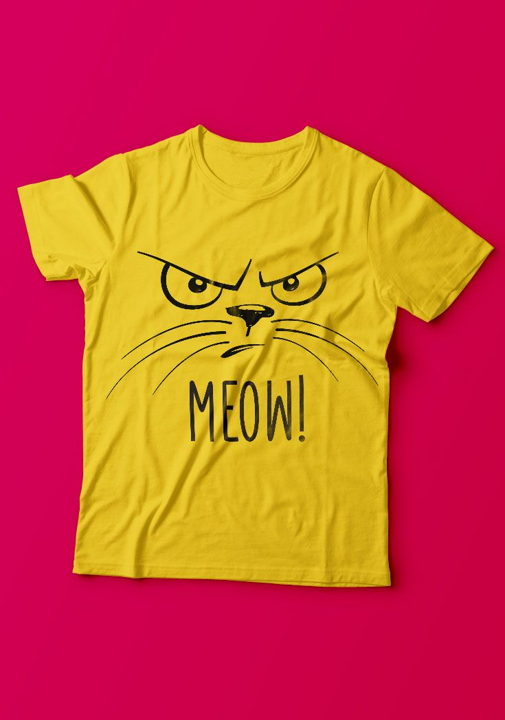 Meow - Angry Cat Guys Tee - https://www.sunfrog.com/139021344-1040416133.html?68704 #cats