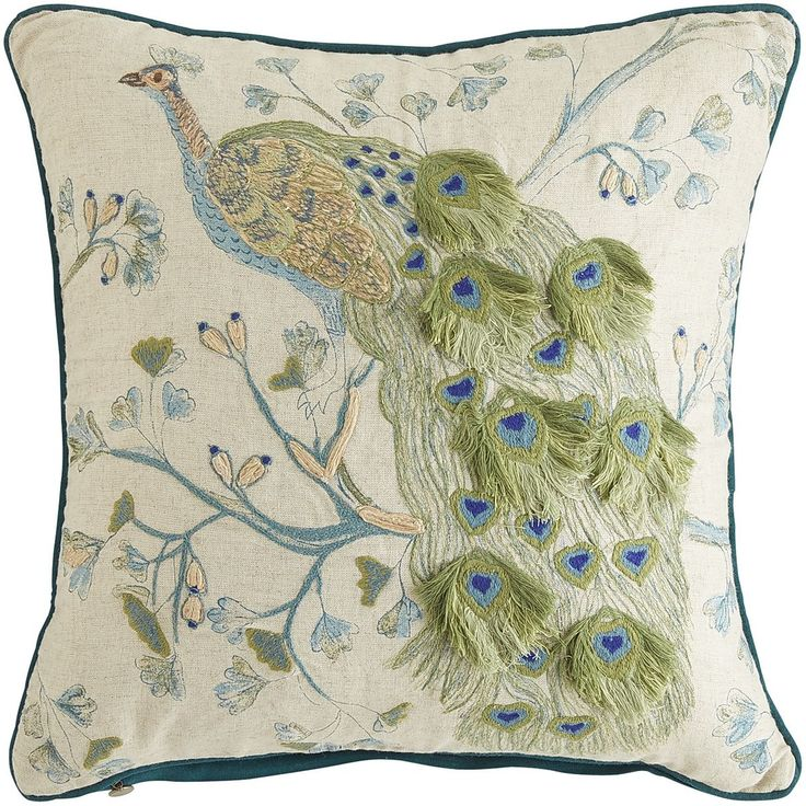 Lucien Embellished Peacock Pillow - Teal & Green | Pier 1 Imports