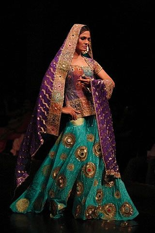 Blue And Purple Colored Indian Wedding Dresses