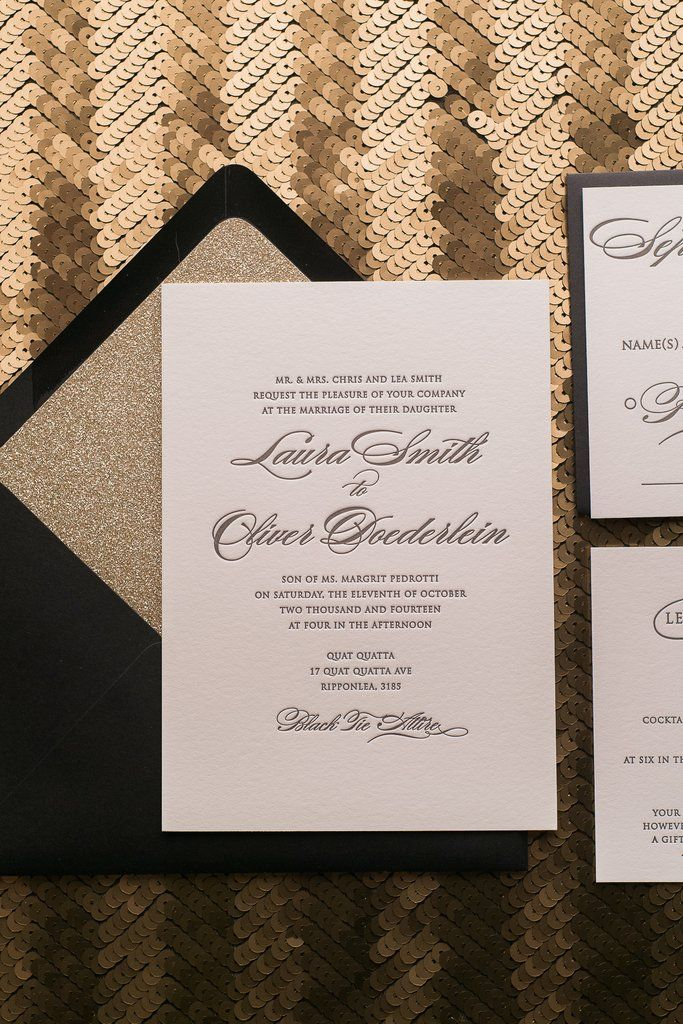 letterpress wedding invites london%0A DIANE Suite Glitter Package  black and gold  glam wedding invitations  gold  glitter wedding