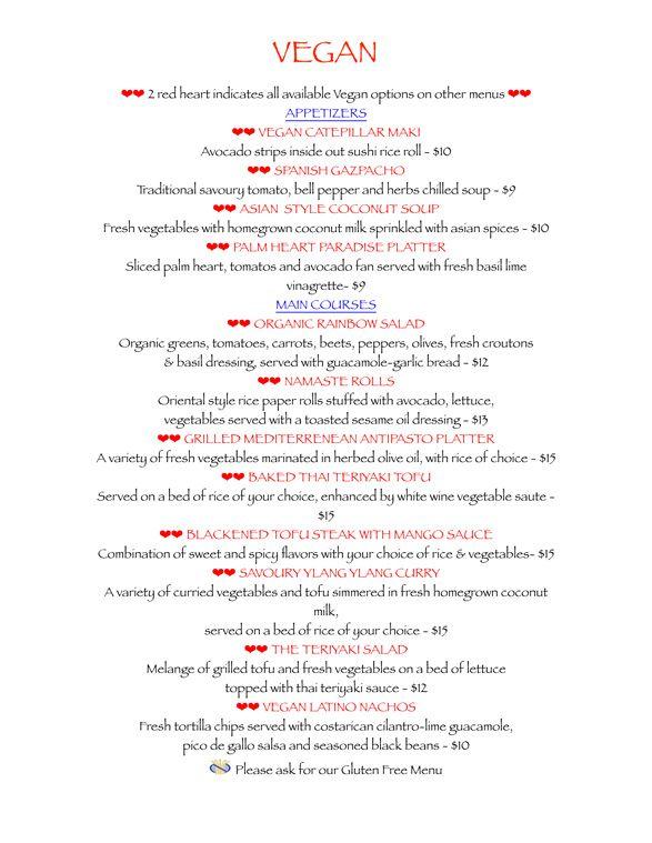 vegan wedding menu | Costa Rica Restaurant and Bar Vegan Menu | Ylang Ylang Beach Resort