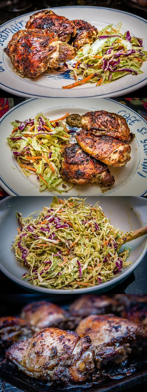 #Recipe / Jamaican jerk chicken with serrano lime slaw