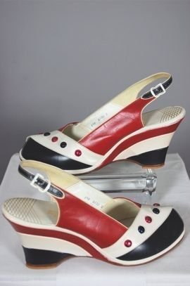 "1940's red,white, & blue wedge sandals--the perfect answer to ""what can i wear on 4th of july?"""