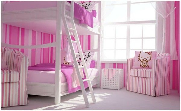 Nursery idea pink stairs two beds sofa decoration