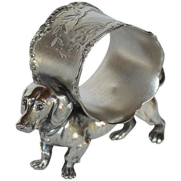 Victorian Dachshund Napkin Ring (36.215 RUB) ❤ liked on Polyvore featuring home, kitchen & dining, napkin rings, tabletop, silverplate napkin rings, victorian napkin rings and silver plated napkin rings