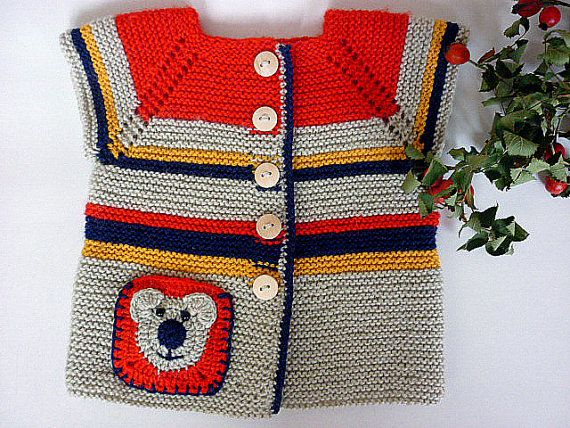 Hand knit  baby cardigan with pocket.Unisex baby cardigan.Baby vest.Knitted baby cardigan with applique. Knit baby clothes.