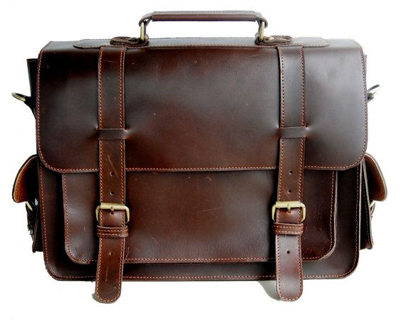 Classic Buffalo Leather Briefcase / Attache / by LeatherLuxury