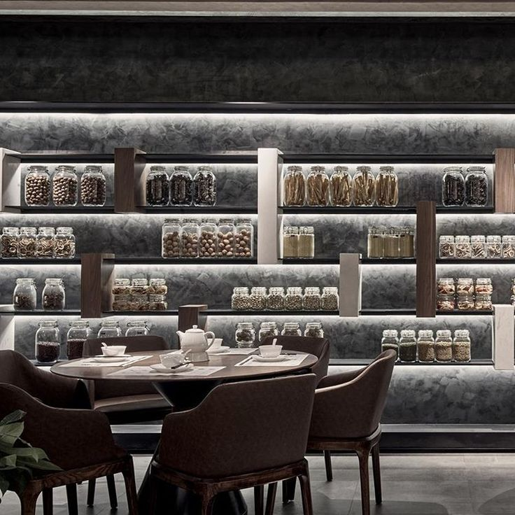 "XI DING, Shanghai, China, ""Ingredients such as spices, nuts and dried citrus are on display, highlighted by a soft glow"", creative by RIGI Design, photo by VMSD Magazine, pinned by Ton van der Veer"