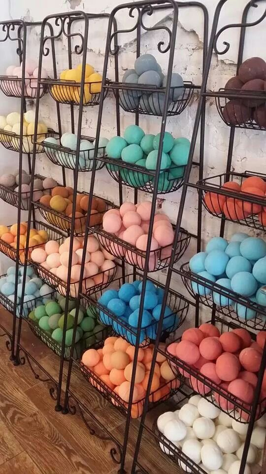 Bath bombs. Visual merchandising. Retail store display. Soaps / Lotions / Body products.